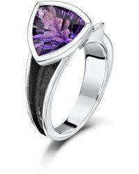 Becky Rowe - Oxidised Silver Amethyst Ring - Lyst