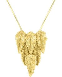 London Road Jewellery Kew Yellow Gold Layered Leaf Necklace