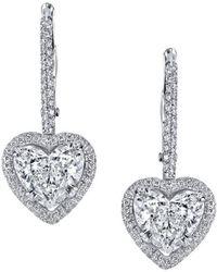 Harry Kotlar - Heart Shape Pave Diamond Drop Earrings - Lyst