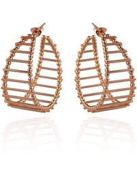Cara Tonkin - Rose Gold Theda Stripe Hoop Earrings - Lyst