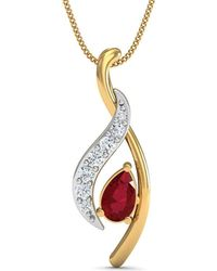 Diamoire Jewels Premium Quality Diamonds and Ruby Pendant Nature Inspired in 10kt Yellow Gold 0V1n27lK