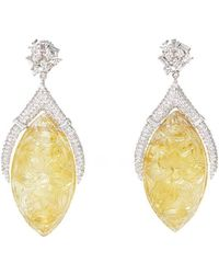 Ri Noor - Carved Citrine And Diamond Drop Earrings - Lyst