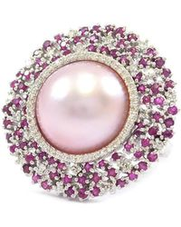 Ri Noor - Starburst Pink Pearl Ruby And Diamond Ring - Lyst