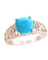 Lali Jewels - 14kt Rose Gold Diamond And Turquoise Ring - Lyst
