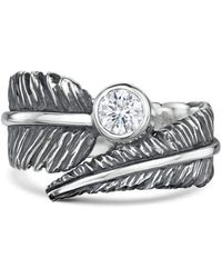 Becky Rowe - Cubic Zirconia Feather Silver Ring - Lyst