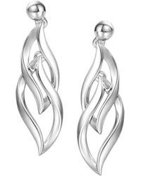 Amore Argento - Rhodium Plated Sterling Silver Flame Earrings - Lyst