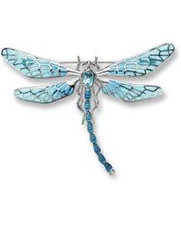 Nicole Barr - Silver Dragonfly Blue Brooch - Lyst