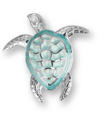 Nicole Barr - Silver Sea Turtle Green Brooch - Lyst