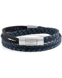 Tateossian - Silver & Navy Leather Cobra Doppio Bracelet | - Lyst