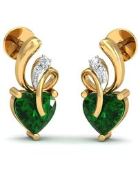 Diamoire Jewels Nature Inspired SI3 Diamond and Emerald Prong Earrings 18kt Yellow Gold kzZ4V5