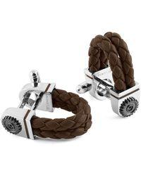 Tateossian - Sterling Silver & Brown Leather Gear Wraparound Cufflinks | - Lyst