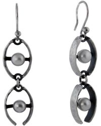 Jan D - Hammered Earrings With Two Pearls - Lyst