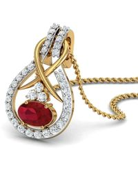 Diamoire Jewels - Nature Inspired Oval Shape Ruby And Diamond Pendant In 18kt Yellow Gold - Lyst