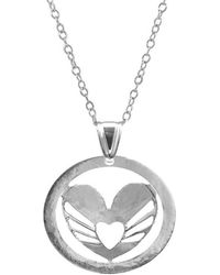 Anchor & Crew - Sterling Silver Decorated Heart Disc Paradise Pendant Necklace - Lyst