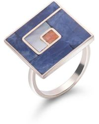 SOLUNA - Sterling Silver Mosaic Square Ring - Lyst