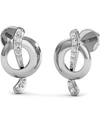 Diamoire Jewels - Nature Inspired 18kt White Gold Diamond Pave Earrings - Lyst