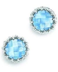 London Road Jewellery - Bloomsbury White Gold Blue Topaz Coronation Stud Earrings - Lyst