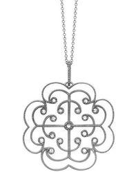 London Road Jewellery - White Gold Diamond Lattice Portobello Pendant - Lyst