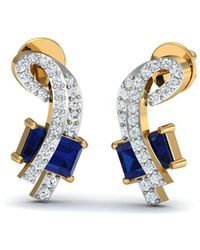 Diamoire Jewels - Prong Blue Sapphire And Diamond Studs In 18kt Yellow Gold - Lyst