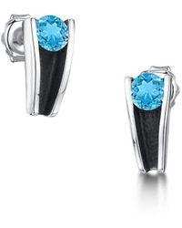 Becky Rowe - Silver And Swiss Blue Topaz Stud Earrings - Lyst