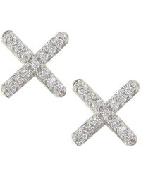 London Road Jewellery - White Gold Diamond Geo Kiss Stud Earrings - Lyst