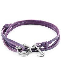 Anchor & Crew - Grape Purple Clyde Silver And Leather Bracelet - Lyst