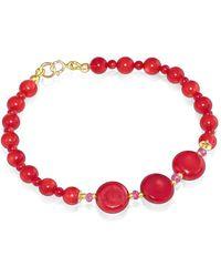 Regenz - Gold Oxblood Red Coral & Pink Sapphire Bracelet - Lyst