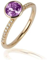 Goshwara - Gossip Round Amethyst Stackable Rings With Diamonds - Lyst