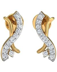 Diamoire Jewels 10kt White Gold Pave Set Premium Quality Diamond Earrings CfBBhSpGcj