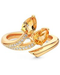 Fei Liu - Polished 18kt Yellow Gold Plated Shooting Star Citrine Open-end 2 Stone Ring - Lyst