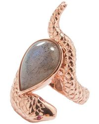 Alexandra Alberta - Rose Gold Plated Arizona Ring With Labradorite - Lyst