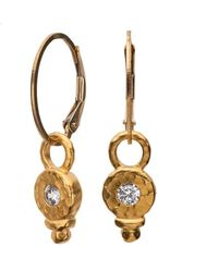 Nadean Designs - White Sapphire Classic Gold Drop Earring - Lyst