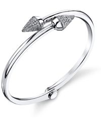 Borgioni - Small Spike Handcuff In White Gold And Pave Diamonds - Lyst