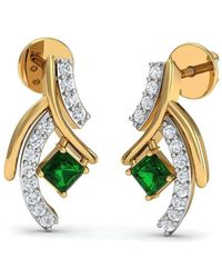 Diamoire Jewels Heart Cut Emerald and Diamond Earrings in 18kt Yellow Gold Ucs8Vv