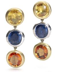Julia Lloyd George - 18kt Yellow And White Gold Tri-colour Sapphire Drop Earrings - Lyst