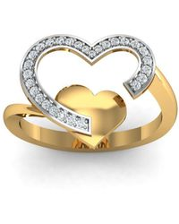 Diamoire Jewels - 18kt Yellow Gold Pave 0.18ct Diamond Infinity Ring I - Lyst