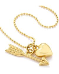 Vicky Davies - Sterling Silver & Gold Heart & Arrow Pendant Necklace - Lyst