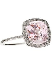 Oh my Christine Jewelry - Cushion Morganite Ring Diamond Halo Engagement Ring - Lyst
