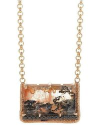 Susan Wheeler Design - Black Diamond Rose Gold Dendritic Quartz Necklace - Lyst