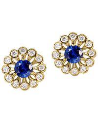 SILVER YULAN - Blue Sapphire Diamond Studs - Lyst