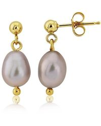 Lavan - 9kt Gold Grey Pearl Drop Earrings - Lyst