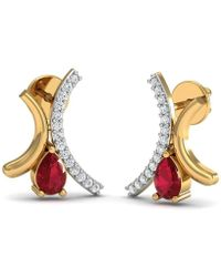 Diamoire Jewels - Prong Set Premium Ruby Earrings With 30 Diamonds In 10kt Yellow Gold - Lyst