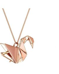 Origami Jewellery - Swan Pink Gold Necklace - Lyst