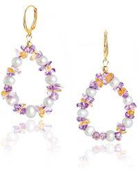 Regenz - Gold Dangle Multi-coloured Earrings - Lyst