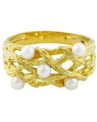 London Road Jewellery - Burlington Yellow Gold Willow Pearl Ring - Lyst
