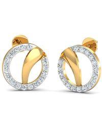 Diamoire Jewels 18kt Yellow Gold 0.26ct Pave Diamond Infinity Earrings u2JRDW1TU