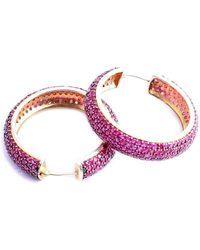 M's Gems by Mamta Valrani - Fairy Dust Hoop Earrings With Rubies - Lyst