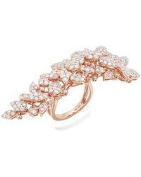 W. Salamoon & Sons - 18kt Rose Gold & Diamond Leaf Cluster Motif Ring - Lyst