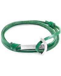 Anchor & Crew - Fern Green Clipper Silver And Leather Bracelet - Lyst