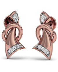 Diamoire Jewels - Hand Carved 10kt Rose Gold And 1mm Diamond Pave Earrings - Lyst